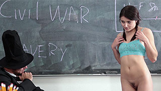 Hot schoolgirl plays a guess or undress game with teacher