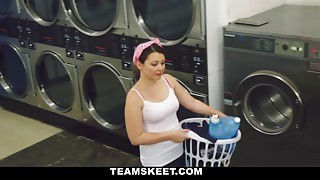 Petite girl gets some pleasure from the washer and a cock